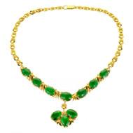Natural Bright Gem Green Jadeite Jade Necklace 22k Gold GIA Certified