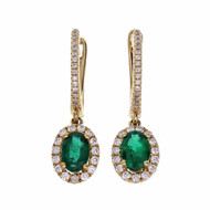 Diamond Hoop Earrings Emerald Halo Dangle 14k Yellow Gold