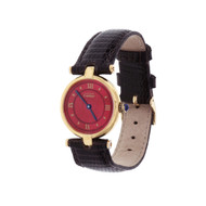 Cartier Vermeil Ladies Watch Custom Red Dial