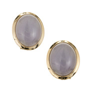 Natural Purple Jadeite Jade Earrings 14k Gold GIA Certified