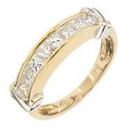 Estate 1980 Princess Cut Diamond Wedding Band 18k Yellow Gold Channel Set