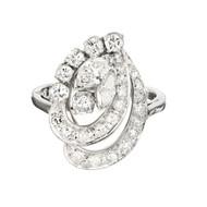 Mid-Century Modern Diamond Swirl Dinner Ring Platinum