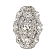 Vintage Art Deco Filigree Diamond Ring Platinum White Gold Bottom