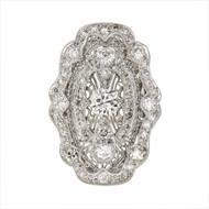 Vintage Art Deco Filigree Diamond Ring Platinum White Gold Bottom