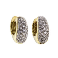 Estate Diamond Huggie Hoop Earrings 18k Gold