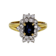 Oval Sapphire Diamond Cluster Ring 20k Yellow & White Gold GIA Certified