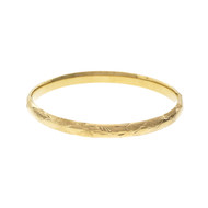 Estate Hinged Bangle Bracelet Hand Engraved 14k Yellow Gold