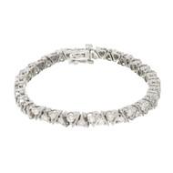 """Estate Diamond Bracelet Two Row 14k White Gold """"V"""" Design"""