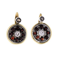 Victorian 1860 Garnet Diamond Earrings 18k Gold Silver Old Mine Rose Cut