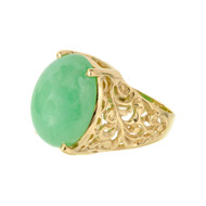 Jadeite Jade Natural Green Ring 14k Gold GIA Certified