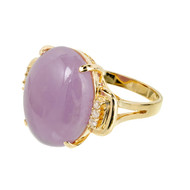 Purple Jadeite Jade Ring 14k Gold Diamond GIA Certified