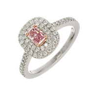 Peter Suchy .31 Carat Pink Diamond Halo Platinum Gold Engagement Ring