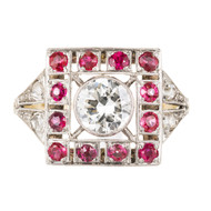Art Deco 1930 Transitional Cut Diamond Ruby Ring 18k Gold Platinum