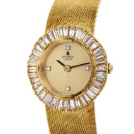 Ladies Universal Geneve Dress Watch 18k Gold Diamond Baguette Bezel