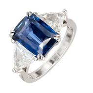 Peter Suchy Natural Antique Cushion Sapphire Engagement Ring Platinum Diamond