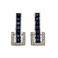 Flexible Square Sapphire Dangle Earrings Diamond Buckle 14k White Gold