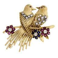 1970 Love Birds Pin 18k Yellow Gold Diamond Ruby Sapphire