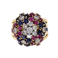 Diamond Ruby Sapphire Flower Ring 18k Pink Rose Gold