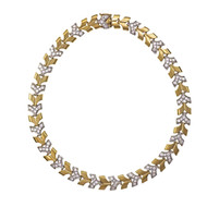 "Vintage 1950 Diamond ""V"" Link Necklace 14k Yellow & White Gold"
