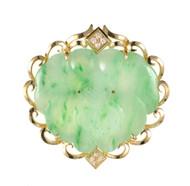 Jadeite Jade Carved Mottled Green Enhancer Pendant Pin 14k Gold GIA Certified
