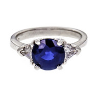 Peter Suchy 2.00ct Round Sapphire Engagement Ring Platinum GIA Certified