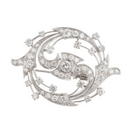 Vintage 1950 Swirl Diamond Pin Pendant 2.86ct Platinum
