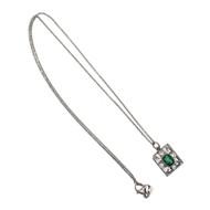 Vintage 1930 Art Deco Platinum Emerald Cut Emerald Pendant