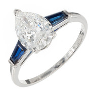Van Cleef & Arpels 1960 Pear Shape Diamond Ring Platinum Sapphire Baguette