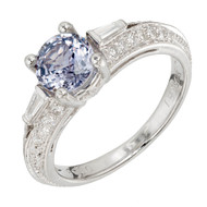 Peter Suchy Old European Cut Color Change Sapphire Engagement Ring Diamond