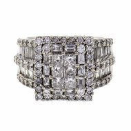 Rectangular Diamond Cluster Ring Princess Baguette Round 14k White Gold