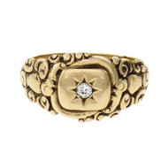 Art Nouveau 1910 Lambert Brothers Signet Ring Diamond 14k Gold
