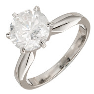 Vintage Classic Six Prong 2.13ct 14k White Gold Round Diamond Solitaire Ring