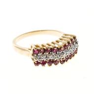 Estate Designer JHR 1960 3 Row Gold Deep Red Ruby & White Round Diamond Ring
