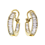 5.00ct Baguette Diamond Inside Out Hoop Earrings 18k Gold High Quality