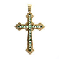 Columbian Emerald Cross Pendant 18k Yellow Gold