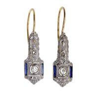 Vintage 1910 Sapphire Old European Cut Diamond Earrings Platinum Top