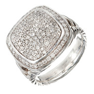 David Yurman Albion Ring With Diamonds Silver 17mm