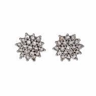 Diamond Round Cluster Earrings Platinum .40ct Total