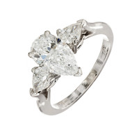 Peter Suchy Vintage 1.63ct Ideal Cut Pear shaped Diamond Platinum Ring GIA Certified