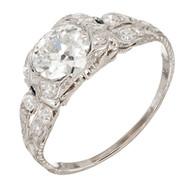 Vintage Art Deco 1910 1.17ct Single European Cut Diamond Platinum Ring Size 9