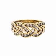 3 Row Braided Channel Set Diamond Ring 14k Gold
