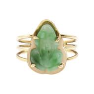 Green Natural Jade Carved Frog Ring 14k Gold GIA Certified