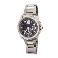 Calibre De Cartier 3389 Automatic Wrist Watch Steel Black Dial