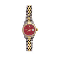 Ladies Rolex Datejust 6917 18k & Steel Custom Red Dial Jubilee Band