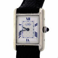 Cartier Silver Must De Cartier Ladies Tank Wrist Watch Ref 2416