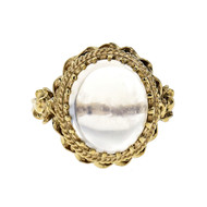 Vintage 1960 Blue Moonstone Cabochon Ring 14k Yellow Gold
