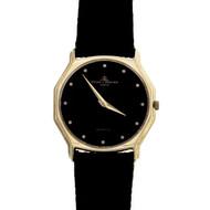 Baume & Mercier Thin Dress Wrist Watch 14k Gold Black Dial