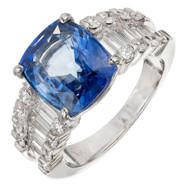Estate 6.00 Carat Cushion Cut Sapphire Platinum Diamond Engagement Ring