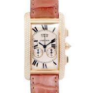 Cartier Tank Americane Model 2568 Wristwatch Chronograph 18k yellow Gold