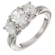Kwait Oval Diamond Three Stone Engagement Ring Platinum GIA Certified